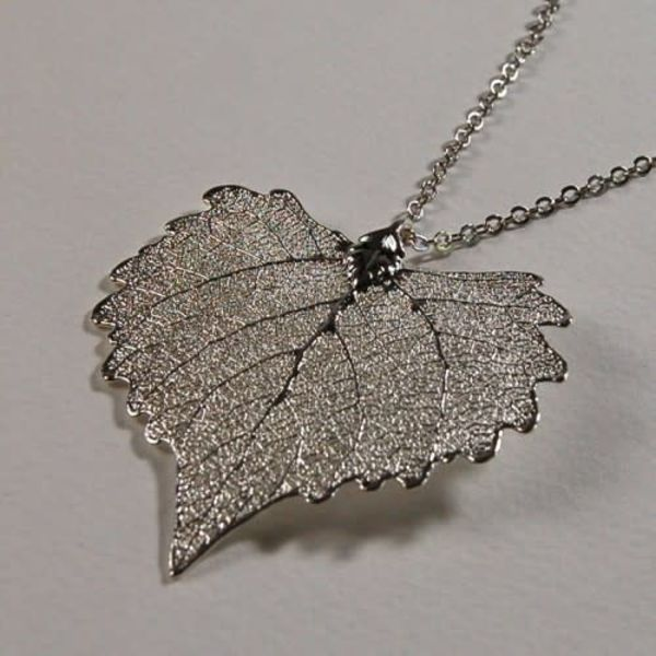 Cottonwood leaf silver pendant