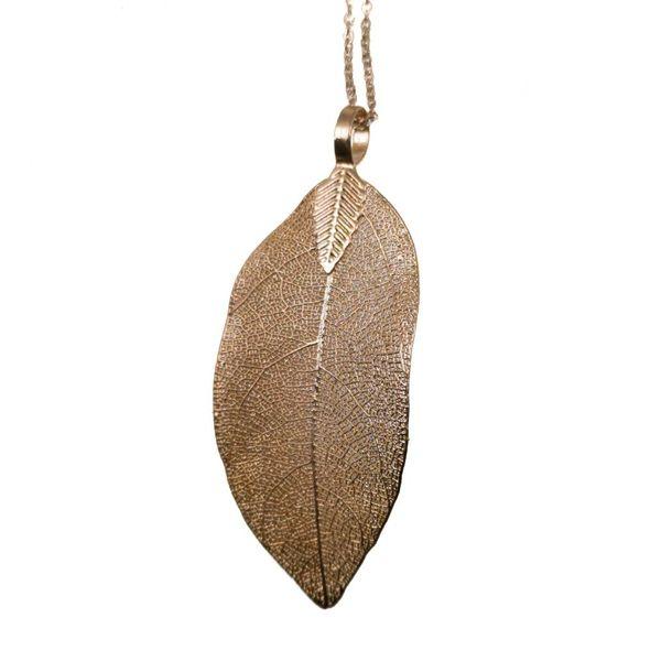 Magnolia leaf rose gold pendant