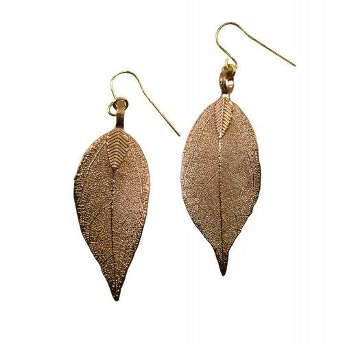 Roxburgh Magnolia leaf rose gold Earrings 10