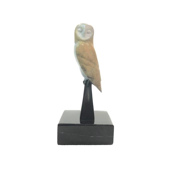 Barn Owl colour patinated on marble stand