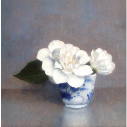 Linda Brill Camellias in a Coffee Cup
