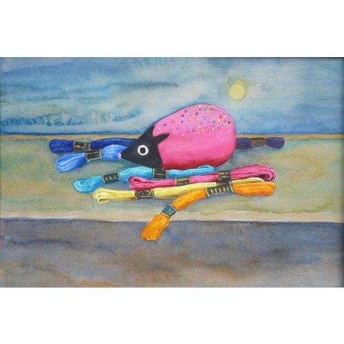 Christine Clarke Hilos de colores y cojín de pin