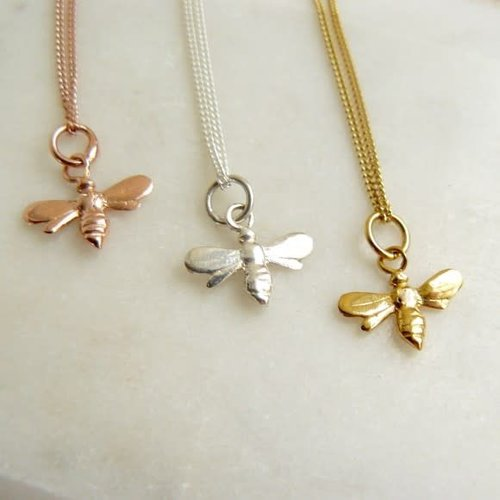 Lime Tree Design Bee tiny rose gold vermeil necklace