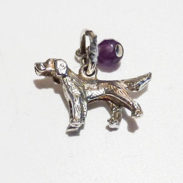 Dog charm  silver with amethyst gem