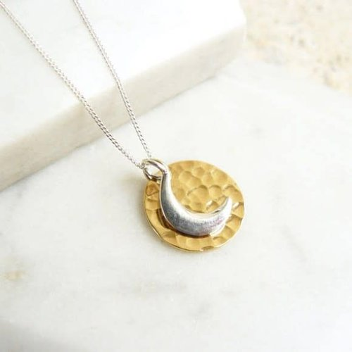 Lime Tree Design Hammered  gold vermeil disc with sterling silver moon necklace