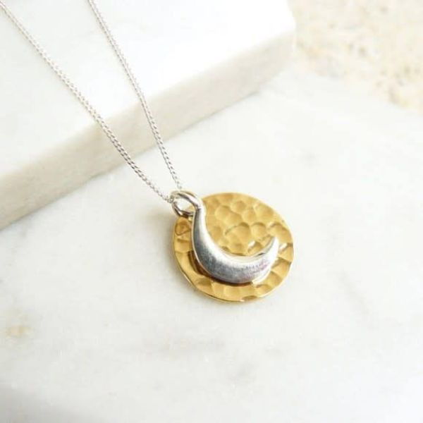 Hammered  gold vermeil disc with sterling silver moon necklace
