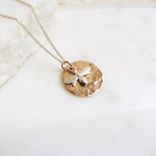 Lime Tree Design Hammered rose gold disc silver bee necklace