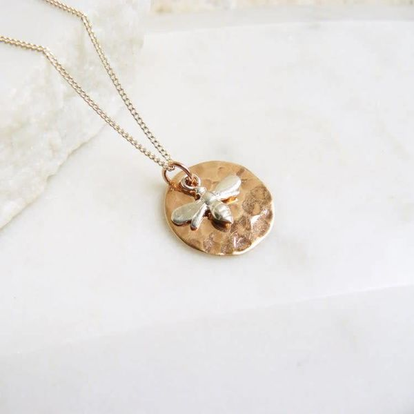 Hammered rose gold disc silver bee necklace