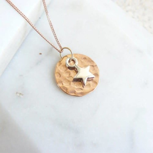 Lime Tree Design Hammered rose gold vermeil disc and silver star necklace