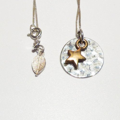 Lime Tree Design Hammered silver disc gold vermeil star necklace