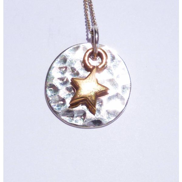 Hammered silver disc gold vermeil star necklace