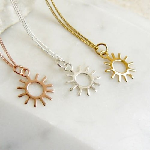 Lime Tree Design Sun gold vermeil necklace