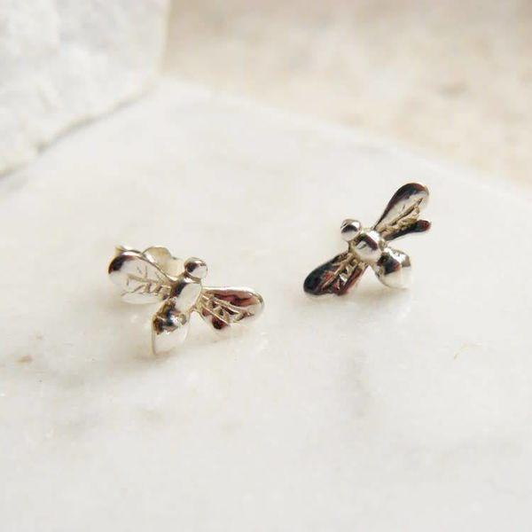 Bee stud silver earrings