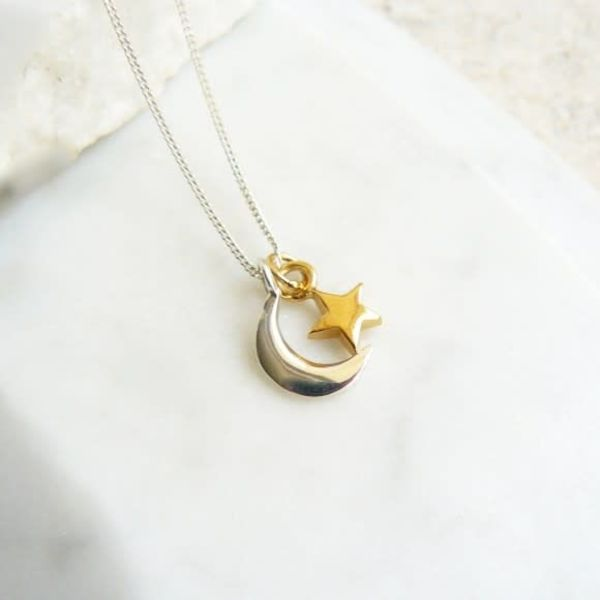 Charms gold vermeil star with sterling silver moon necklace