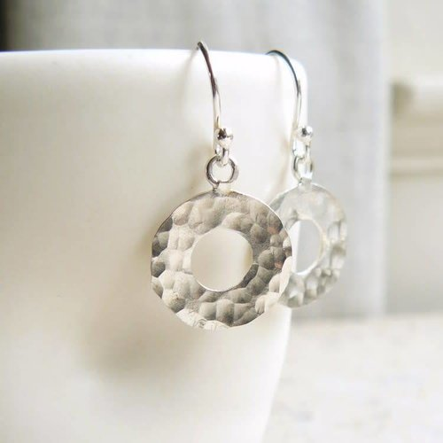 Lime Tree Design Hammered silver circle silver hook earrings