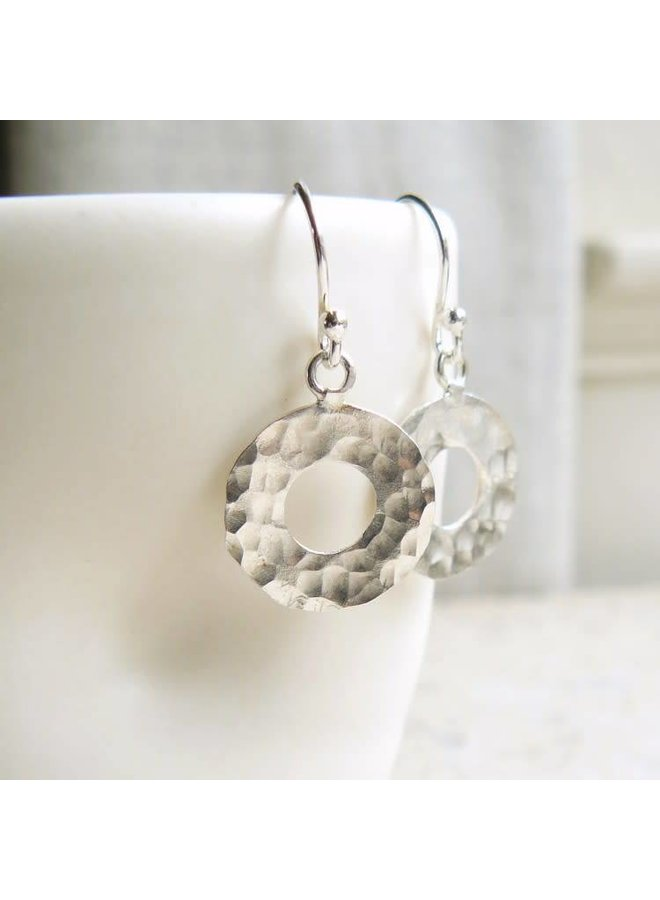 Hammered silver circle silver hook earrings