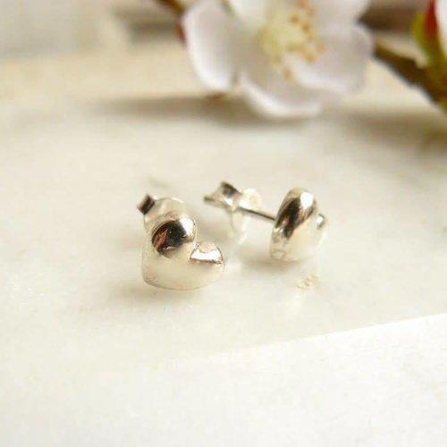 Lime Tree Design Heart stud silver earrings 40