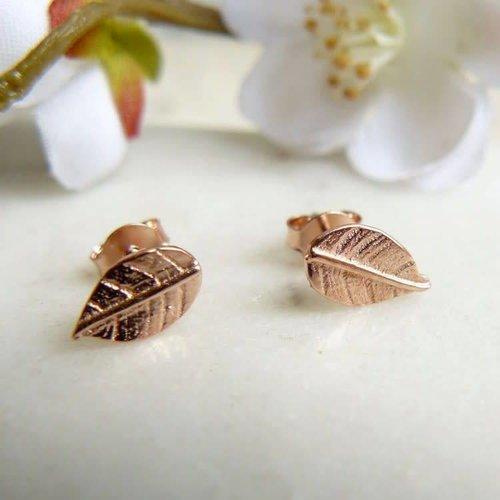 Lime Tree Design Leaf stud rose gold vermeil earrings