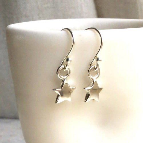Lime Tree Design Star silver hook earrings