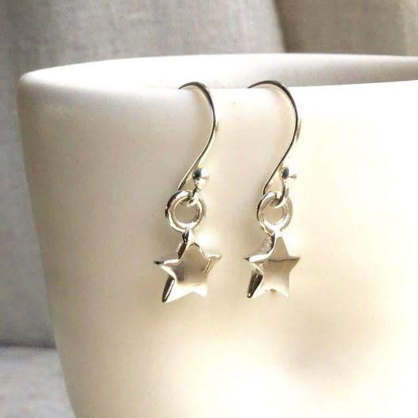 Star silver hook earrings