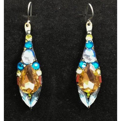 Annie Sherburne Vintage drop blue orange earrings 84
