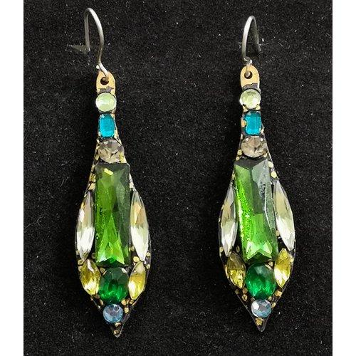 Annie Sherburne Vintage drop green earrings 80