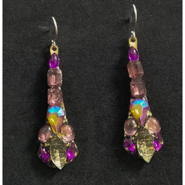 Vintage drop pink  earrings 86