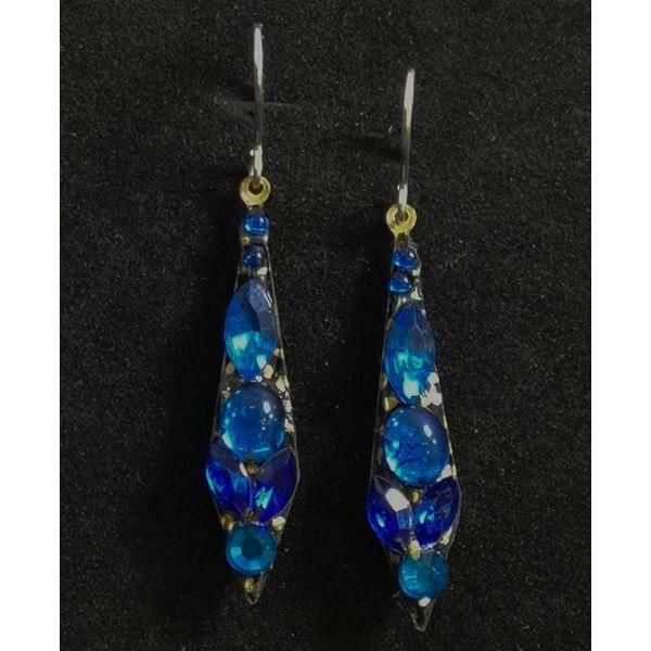 Vintage kleine Tropfen blaue Ohrringe 90