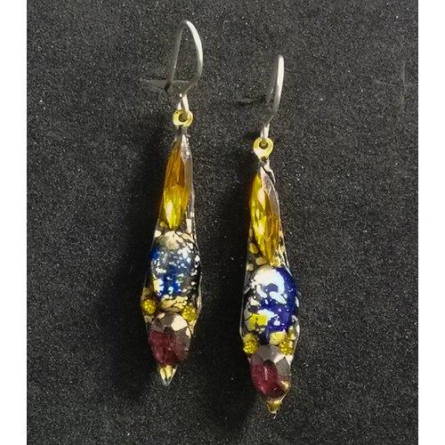 Annie Sherburne Vintage small drop orange / blue  earrings 91