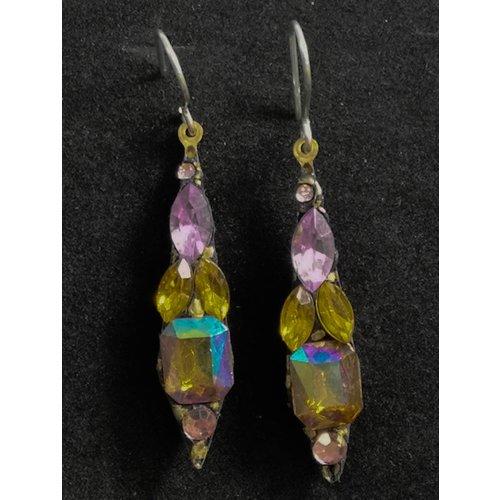 Annie Sherburne Vintage small drop orange / pink  earrings 92