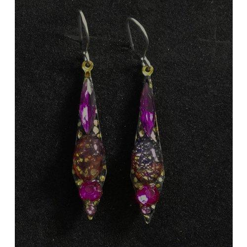 Annie Sherburne Vintage small drop purple  earrings 97