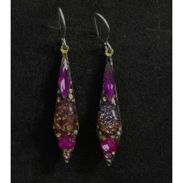 Vintage small drop purple  earrings 97