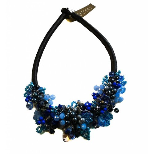 Lotus Feet Dark blue bead satin necklace