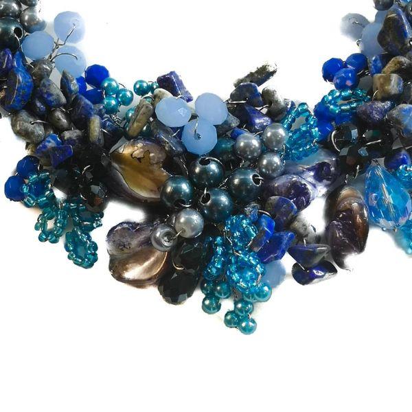 Dark blue bead satin necklace
