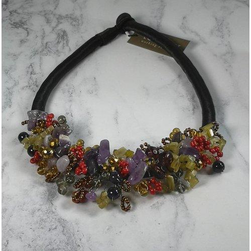 Lotus Feet Herbst Perlen Halskette Satin