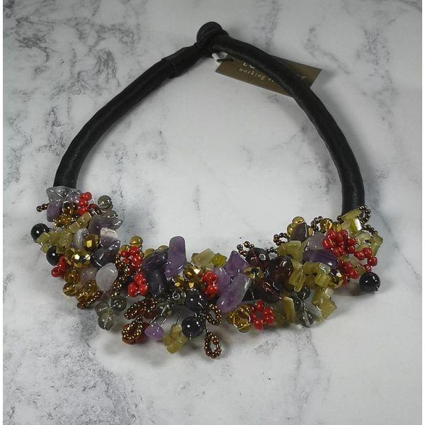 Herbst Perlen Halskette Satin