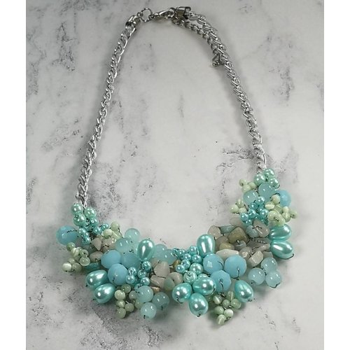 Lotus Feet Pale blue beaded  necklace 025