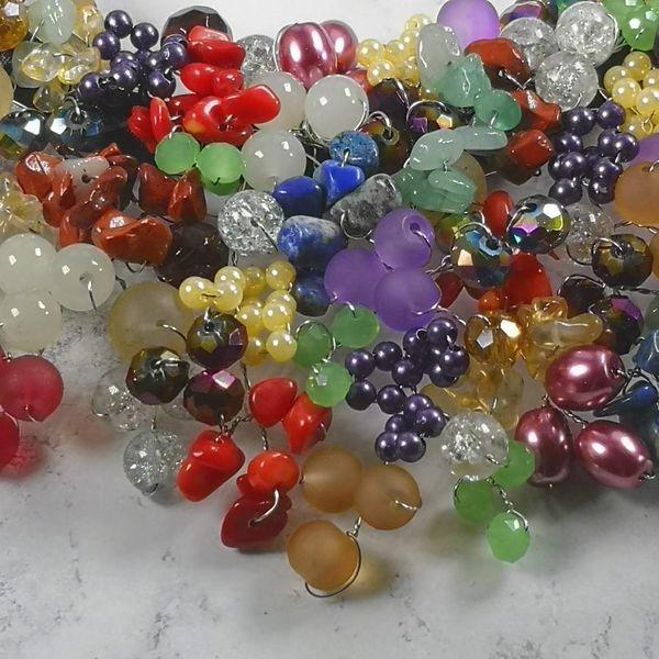 Multicolour beaded satin necklace 033