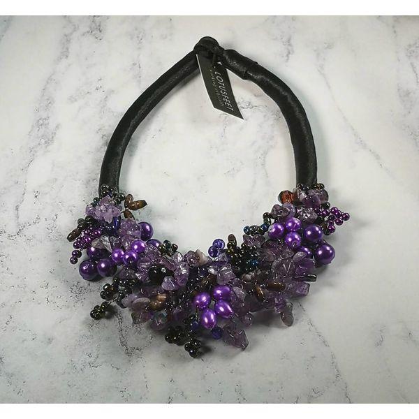 Lila Perlen Halskette aus Satin 030