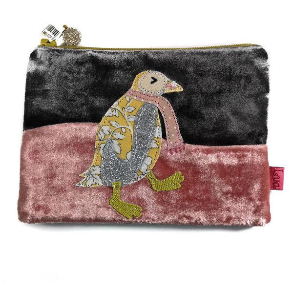 Monedero de apliques de terciopelo pingüino bailarín