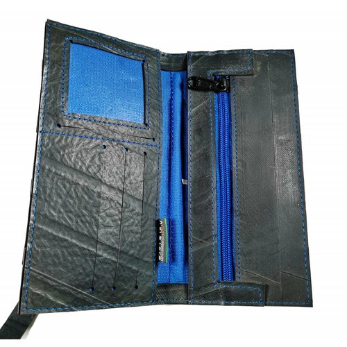 Paguro Wallets Wallet inner tube Black Blue slim fastener style