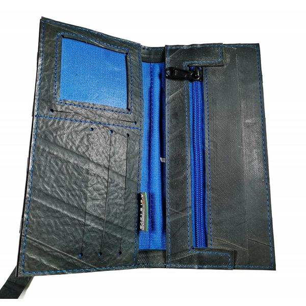 Wallet inner tube Black Blue slim fastener style