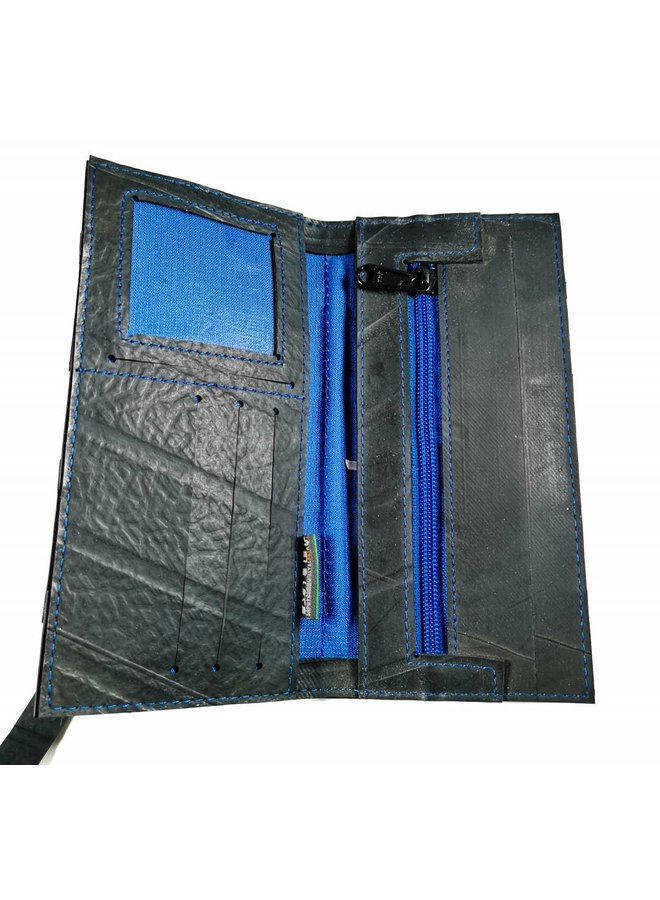 Brieftaschenschlauch Schwarz Blau Schlanker Verschlussstil
