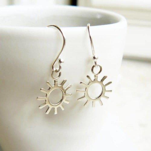 Lime Tree Design Sun silver hook earrings