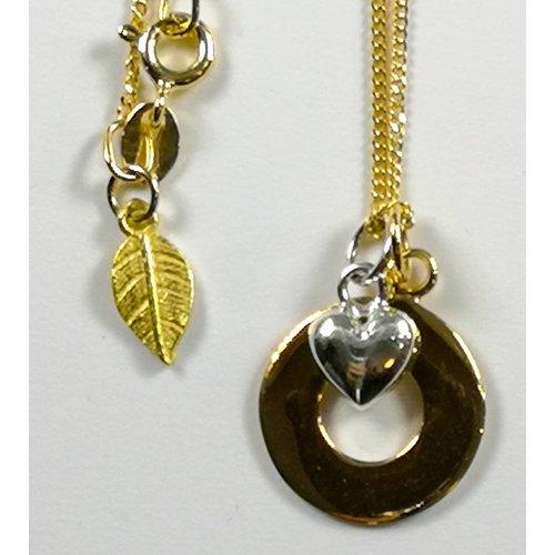 Lime Tree Design Collar de corazón de plata con círculo de vermeil dorado 49