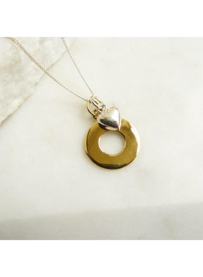 Gold Vermeil Kreis Silber Herz Halskette 49