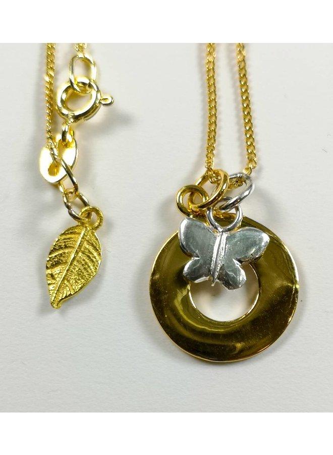 Gold Vermeil Kreis Silber Schmetterling Halskette 50