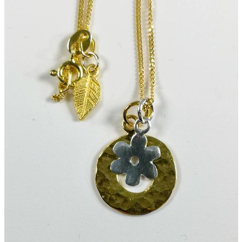 Lime Tree Design Gold vermeil hammered circle silver daisy necklace