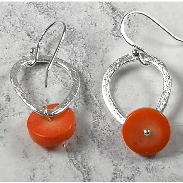 Coral and Silver hook earrings