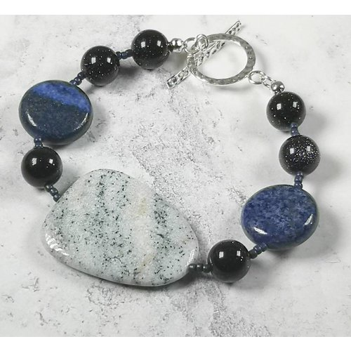 Melissa James Ice blue agate, lapis  Bracelet